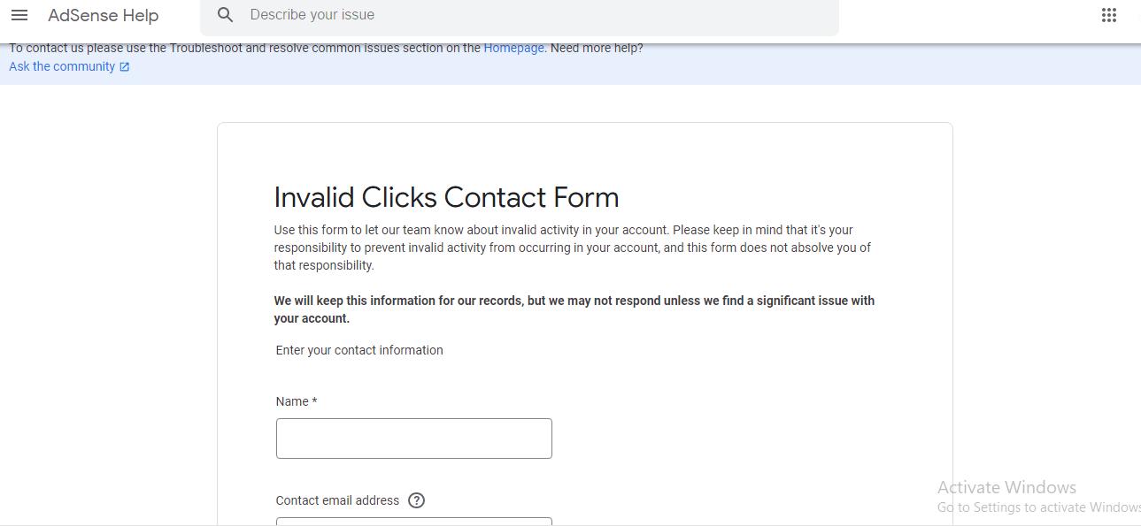 google adsense invalid click form