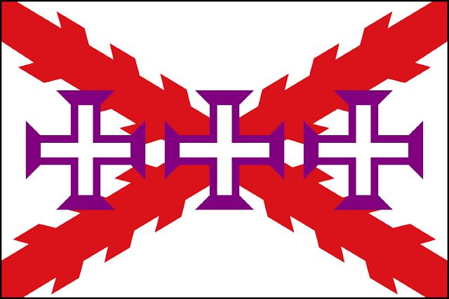 Bandera de la Hispanidad diseñada por Cabeleira Santoro