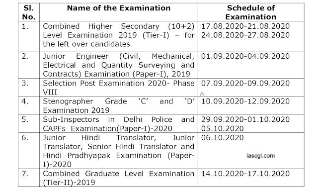 SSC Fresh Exam Calendar