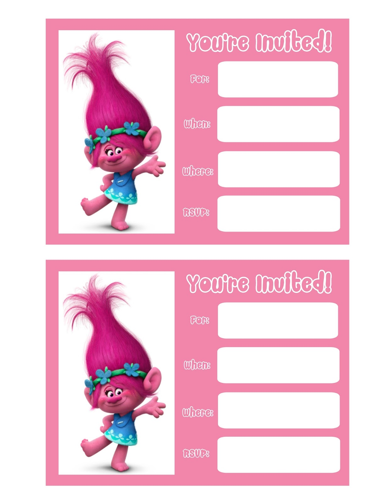 Effortless image in free printable trolls invitations