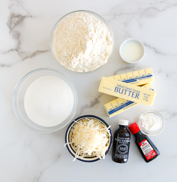 ingredients for coconut spritz cookies