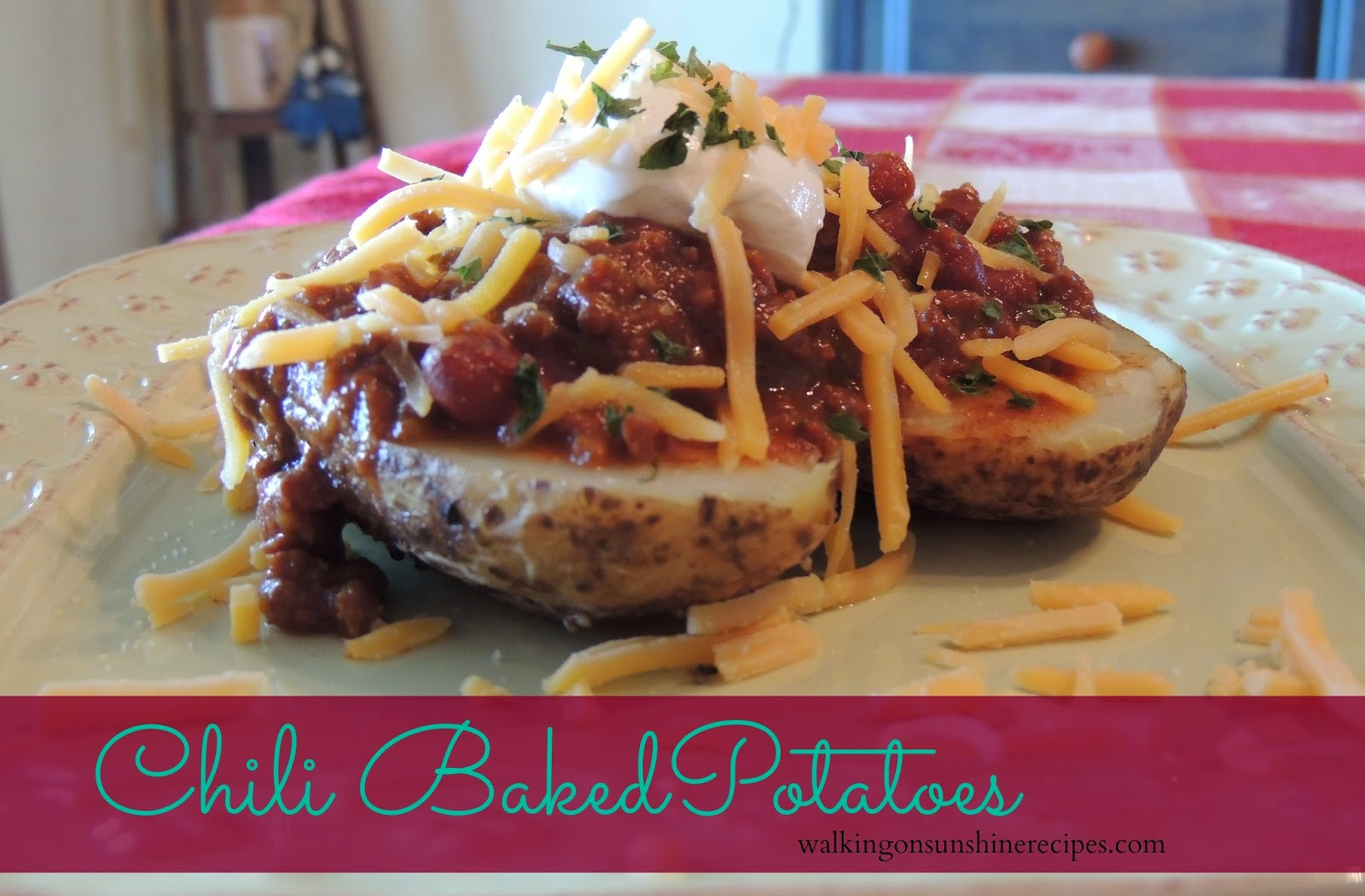 A delicious way to use leftover chili is with these chili baked potatoes from Walking on Sunshine Recipes.