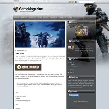 Game Magazine blogger template. template blogspot magazine style. download template tech blogger template
