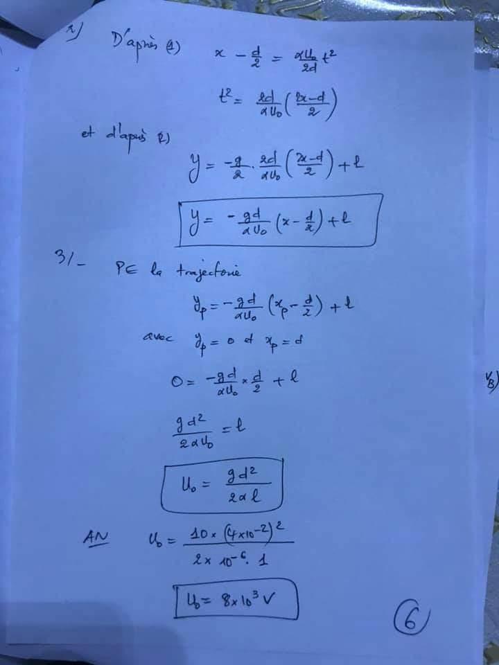 تصحيح فيزياء باك علوم رياضية 2020