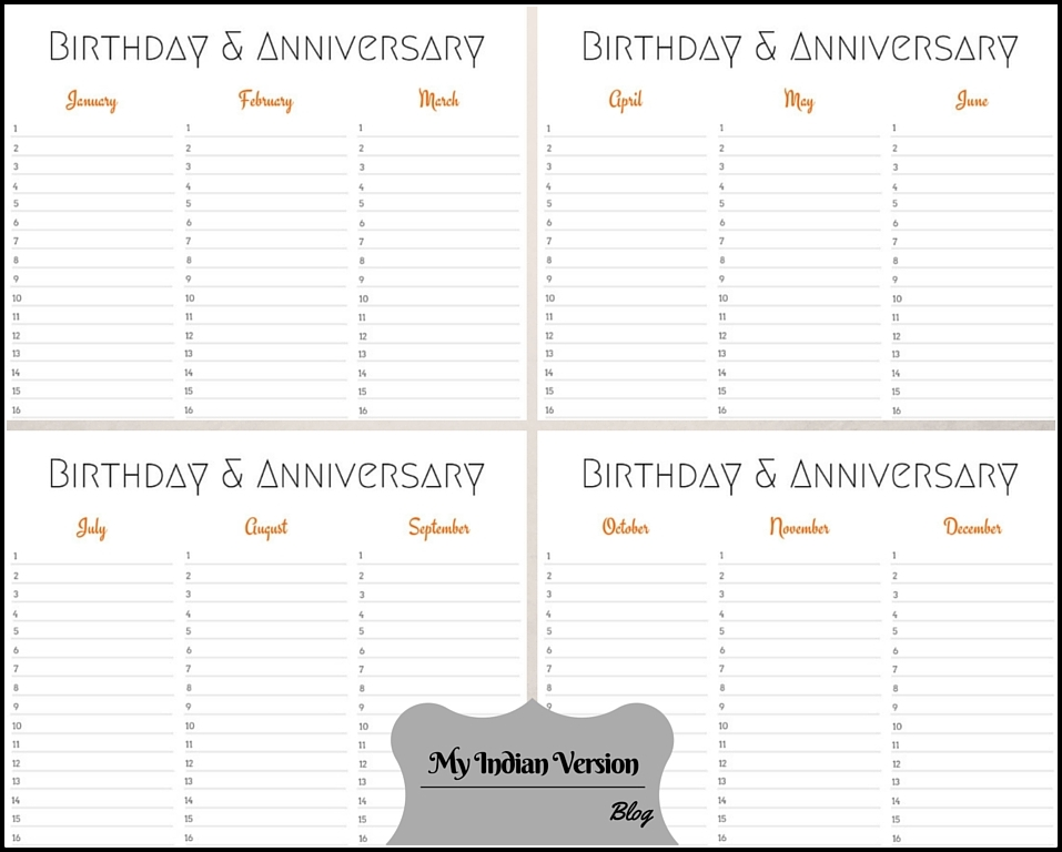 4 Page Layout Orange Birthday Anniversary Calendar