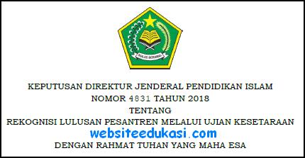Keputusan Dirjen Pendis Nomor 4831 Tahun 2018 Tentang Rekognisi Lulusan Pesanteren