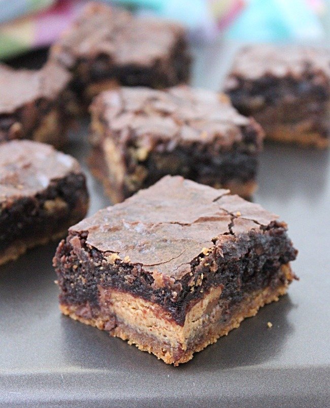 Peanut Butter Cup Cookie Dough Brownies from Table for Seven