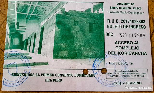 Ingresso para o Qorikancha, Templo do Sol, Cusco