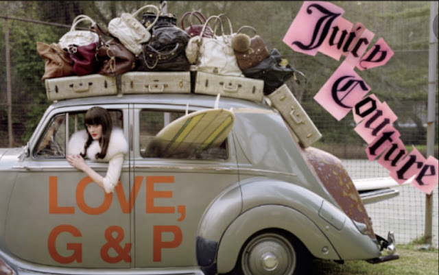Juicy Couture as by Tim Walker with vintage car and surfboard