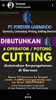 Lowongan Kerja Cutting PT Forever Garmindo