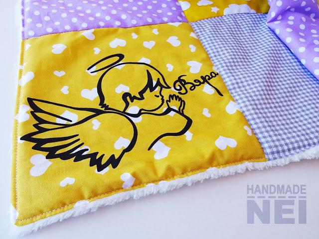 "Handmade Nel: Пачуърк одеяло с полар за бебе ""Сиво-жълто-лилаво"