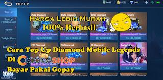 Cara Top Up Diamond Mobile Legends Di Codashop Pakai Gopay