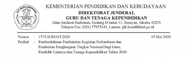 Surat Pembatalan Lomba Guru Berprestasi (Gupres) Tahun 2020, Anugrah Konstitusi Tahun 2020