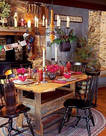 Comedor decorado en Navidad