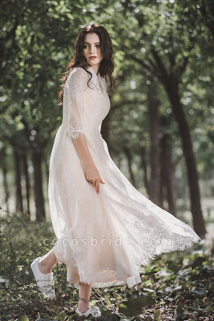 Cute Front Button-up Lace A-line Wedding Dress