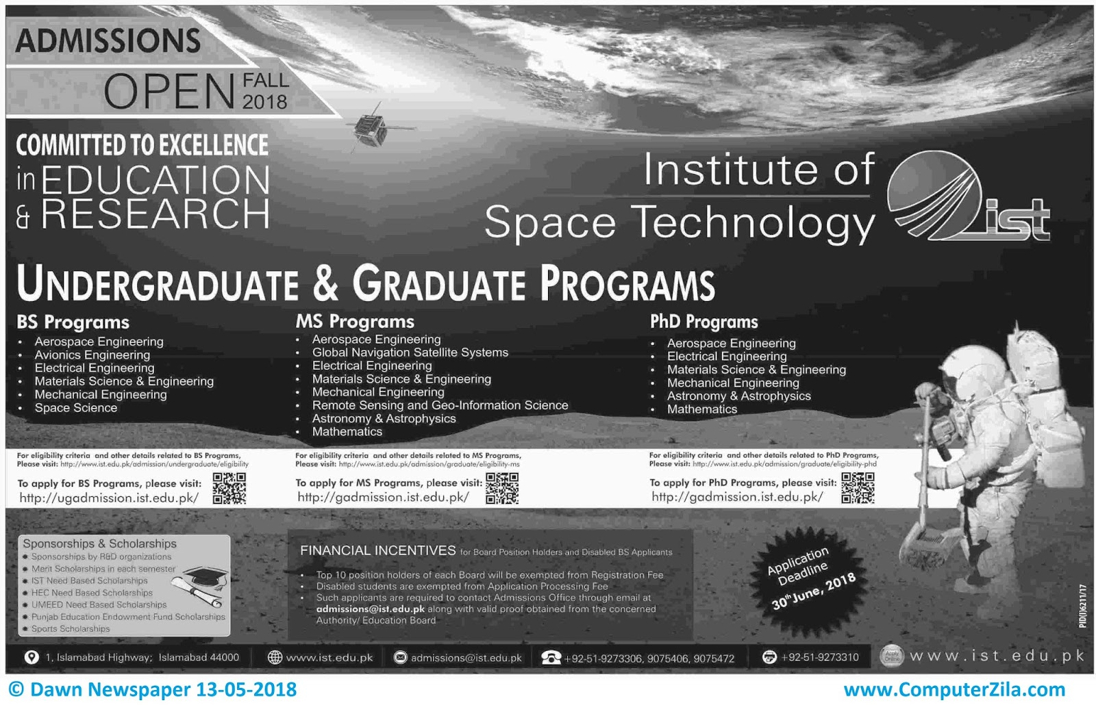 Institute of Space Technology Admissions Fall 2018