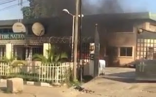 #EndSARS: The Nation Newspaper Main Office On Fire, Staff Trapped (Video)