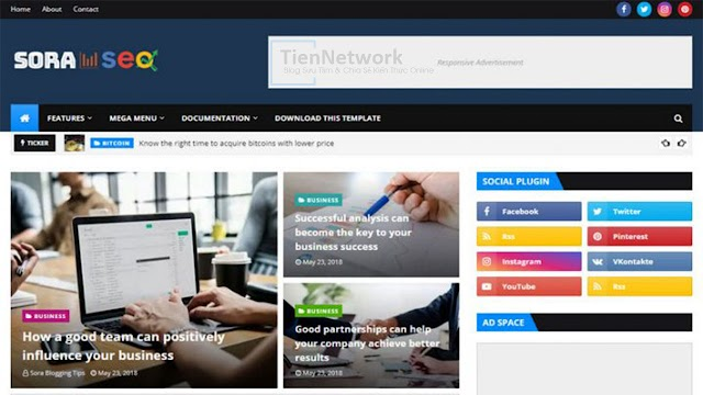 Sora Seo 2 Premium - Template Blogspot Tin tức chuẩn SEO, load trang nhanh, mượt cho Blogger
