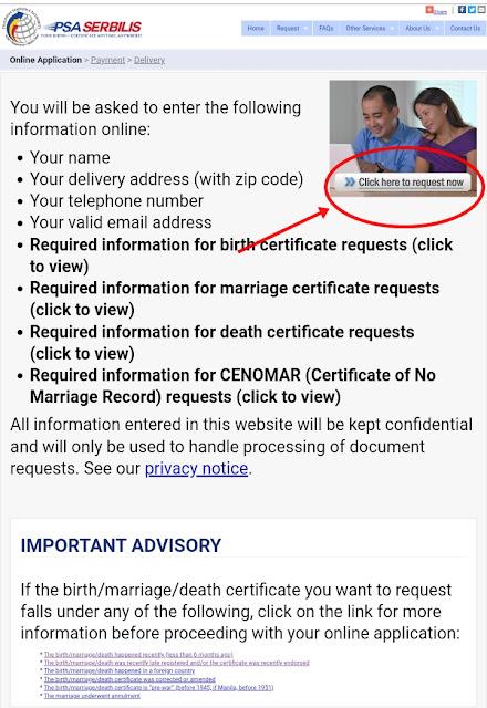 PSA Serbilis Birth Certificate Online