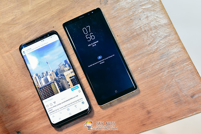 Samsung Galaxy S8+ Plus vs Samsung Note 8 in size almost similar
