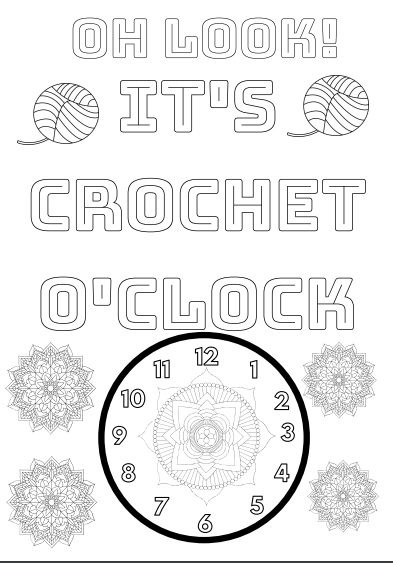 Free Crochet Coloring Page Printable Download Crochet O Clock Time