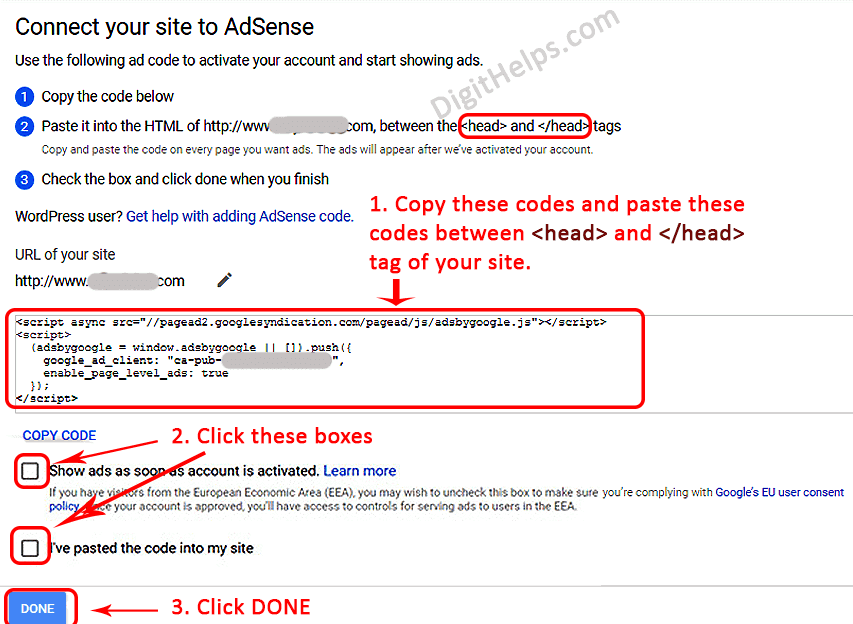 Connect and verify site to Adsense