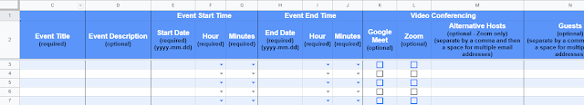 Google Sheet columns allow for event details to be added.