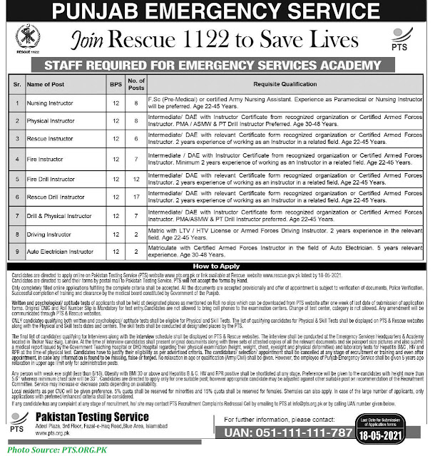 RESCUE 1122 Jobs 2021 - Apply online for RESCUE 1122 Jobs in Punjab