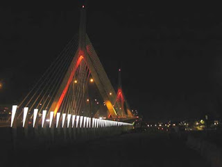 Zakim Bridge in Boston At Night.