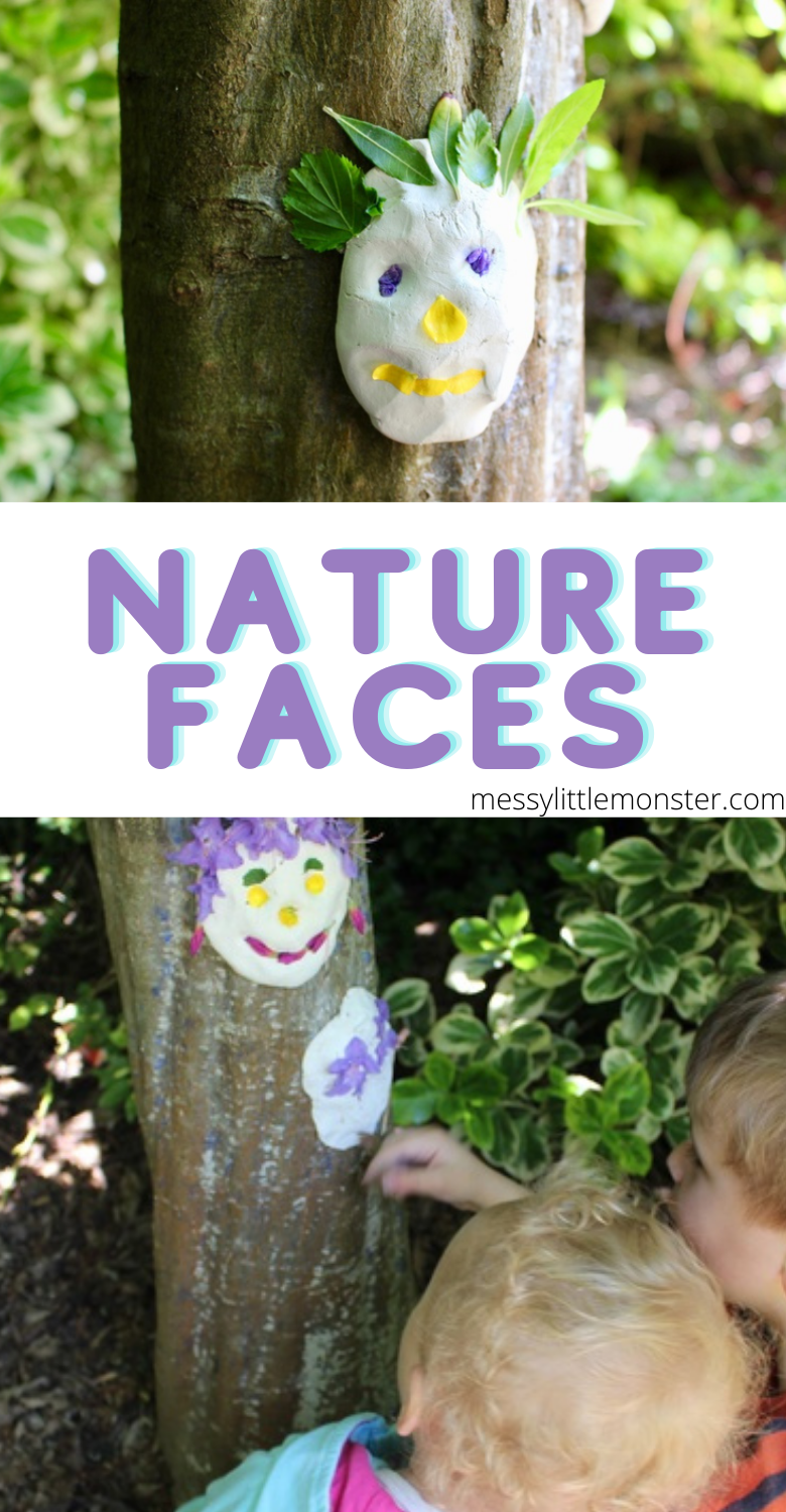 Clay faces nature craft for kids. Nature faces outdoor art ideas. .