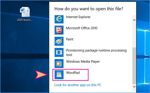 open read only Word document with WordPad