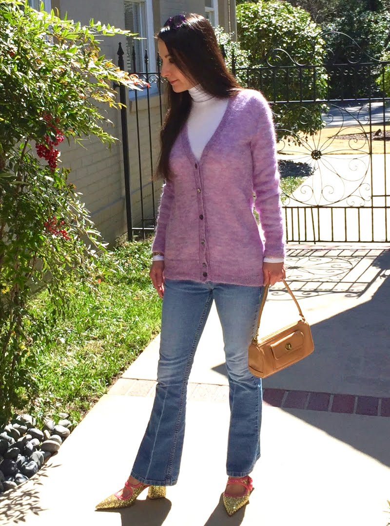 Lavender and Blue Jeans Outfit - same pic as above but closer up.