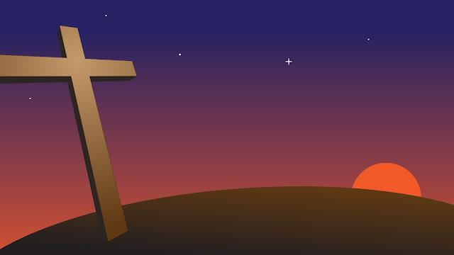 salib saat sunset