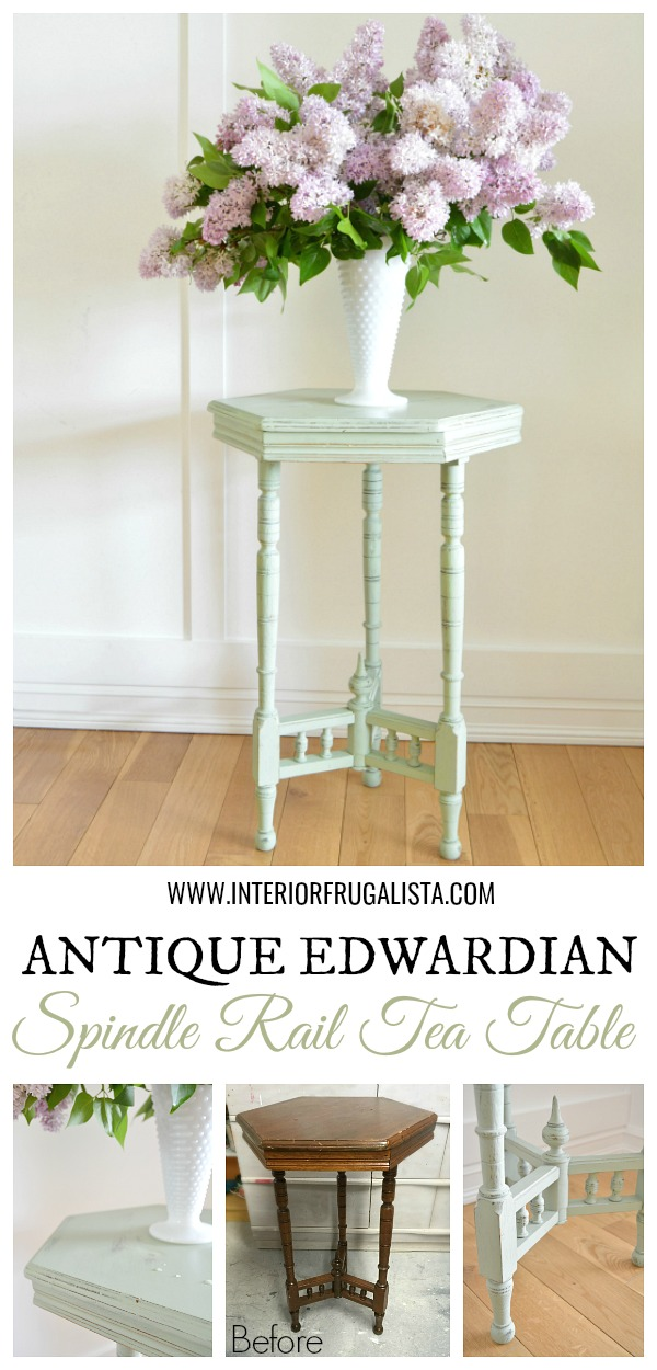 Antique Edwardian Hexagon Spindle Rail Tea Table