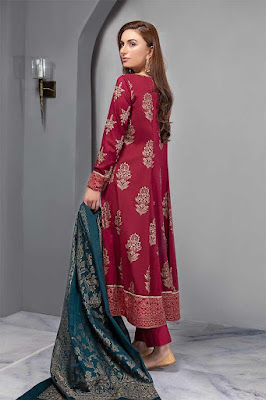 Maria B Embroidered Long Maroon Color Dress back design