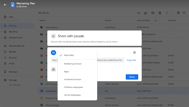 Limit Google Drive sharing to specific groups with target audiences 1