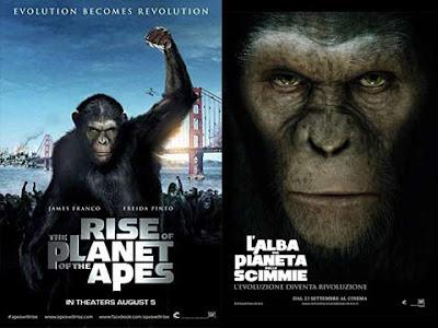 La locandina di ''Rise of the planet of the apes'', in italiano ''L'alba del pianeta delle scimmie''