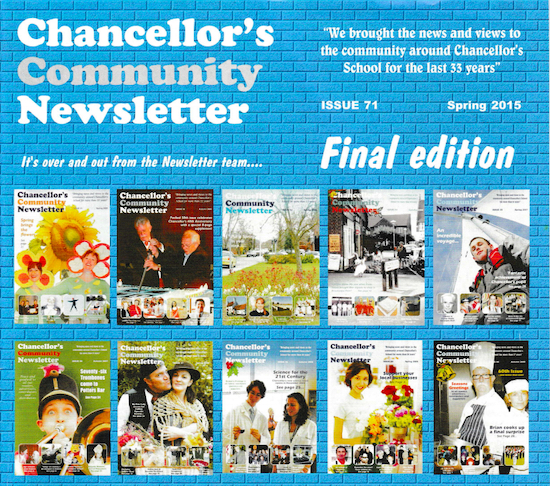 The final issue of Chancellor's Community Newsletter - pdf of cover below