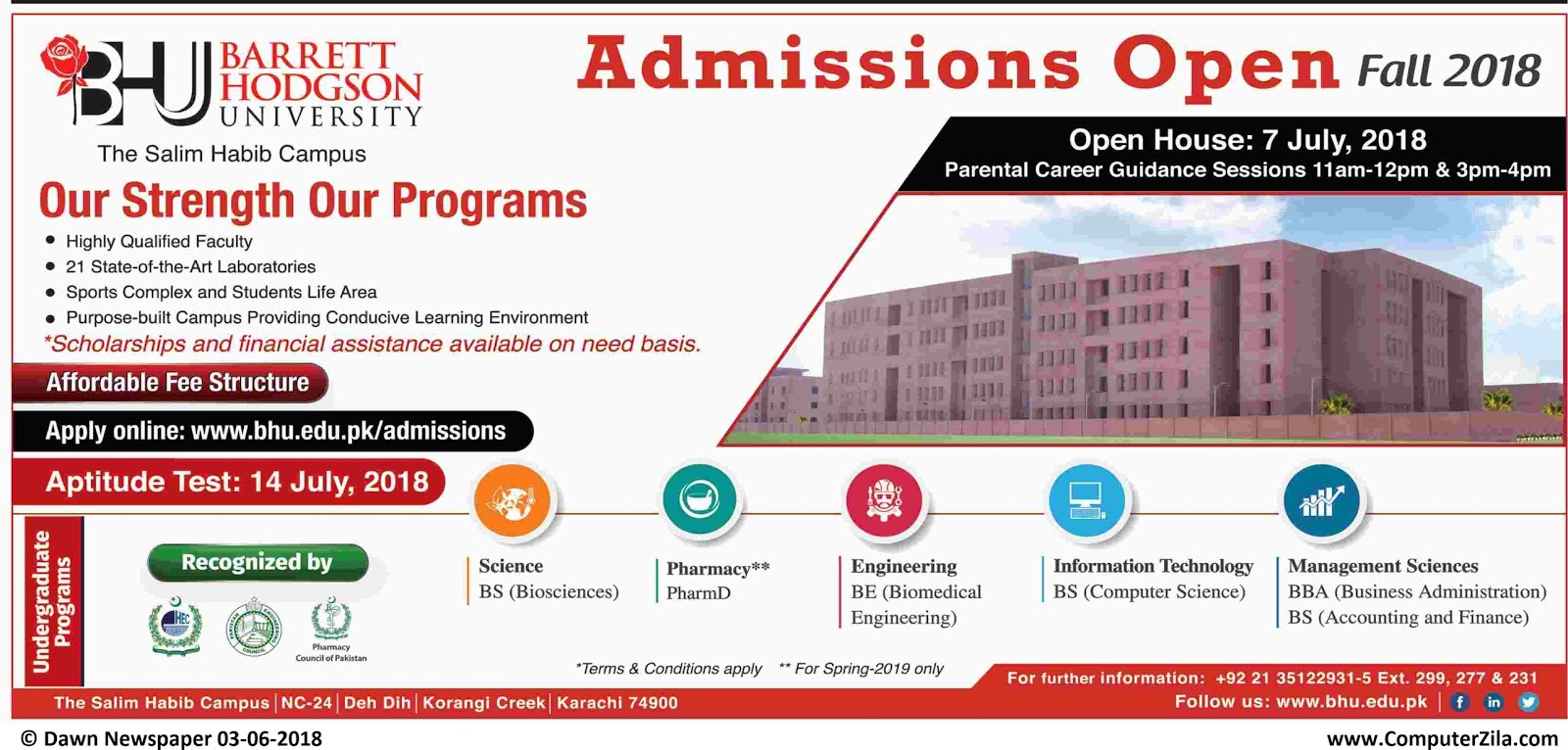 Barrett Hodgson University Admissions Fall 2018