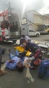 Acidente entre Moto e Carro  no cruzamento da Escola Euzébio de Queiroz deixa motociclista ferido