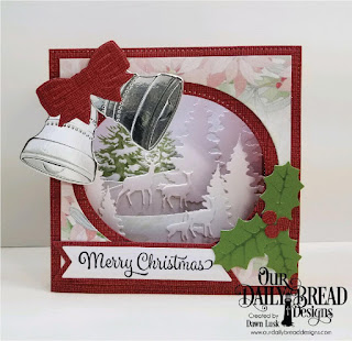 Our Daily Bread Designs Stamp/Die Duos: Merry Christmas, Custom Dies: Christmas Bells, Diorama with Layers, Curvy Slopes, Double Stitched Pennant Flags, Pennant Flags, Trees and Deer, Paper Collection: Christmas 2018