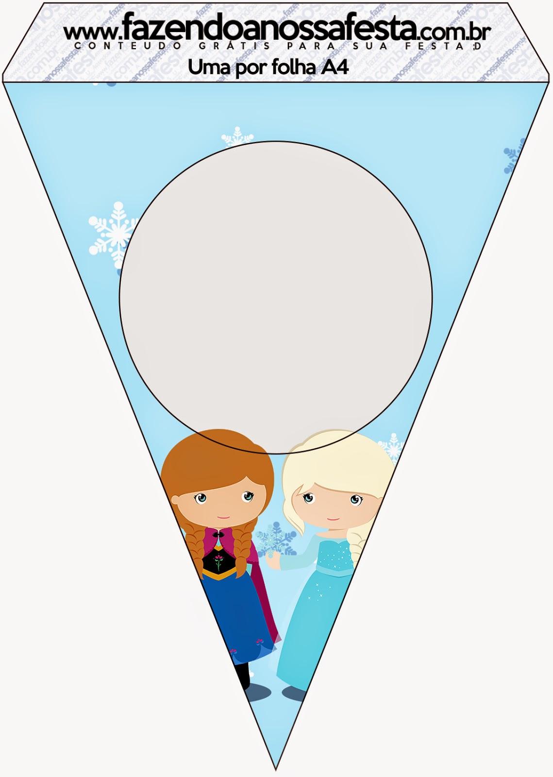 Banderines para imprimir gratis de Frozen Niñas para Navidad Azul.