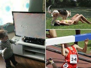 Niño pinta tele pintura, perro orina sobre chica, atleta choca valla