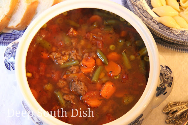 A cafeteria lunchroom favorite, this soup from days long gone by and my all time favorite, made with a tomato and beef broth base, ground beef, a mixture of veggies and seasonings, and flavor boosters - all pantry staples. Make a double batch because this freezes nicely.