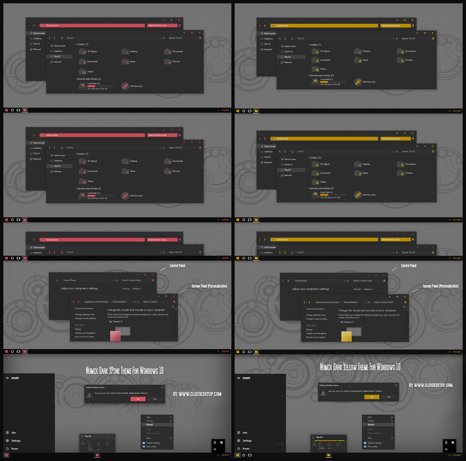 Numix Dark Pink And Yellow Theme For Windows10 2004