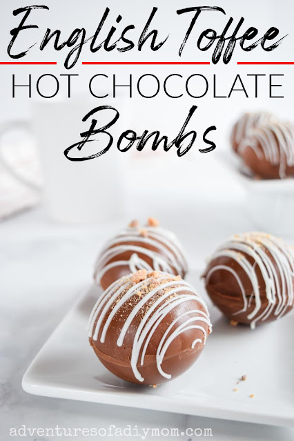hot chocolate bombs on a plate with text overlay