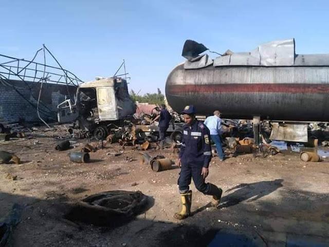 إنفجار 300 أسطوانة بوتاجاز بالطريق الصحراوي في قنا