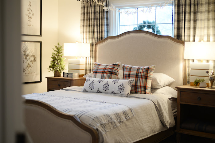 plaid curtains, plaid pillows, stiped flannel bedding
