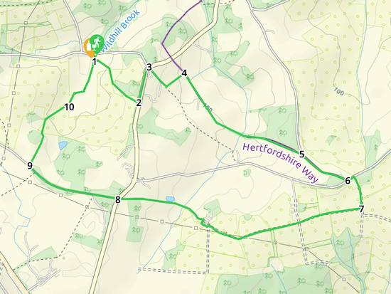 Map for Walk 52: Wildhill SE Loop  Created on Map Hub by Hertfordshire Walker Elements © Thunderforest © OpenStreetMap contributors See the interactive map below the directions for KML and GPX details