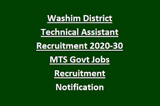 Washim District Technical Assistant Recruitment 2020-30 MTS Govt Jobs Recruitment Notification 2020-Application form